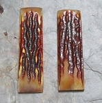 Bone Stag pattern deep amber dyed 1 1/4 x 4 1/2 pair