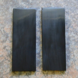 Buffalo Horn Black Polished Slabs 1/4 X 1 1/2 X 4 1/4 Pair