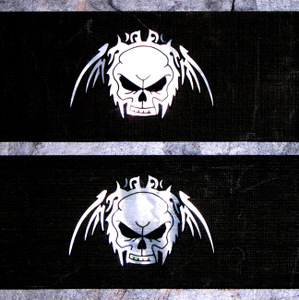 Limited Edition Mop Skull Inlayed In Black Linen pair