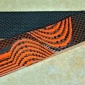 Carbon Fiber & G10 Hunter Orange 1 C/F & 2 G/10 Layering 3/16